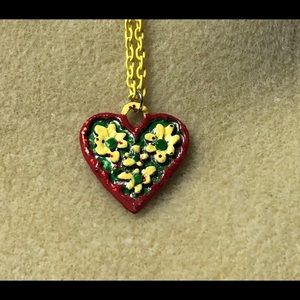 Handmade and painted heart Necklace